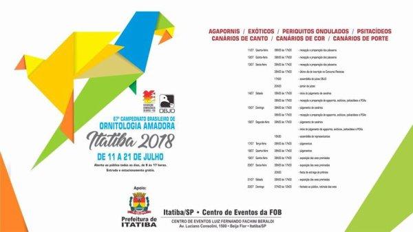 67ème Championnat d'Ornithologie du Brésil 2018