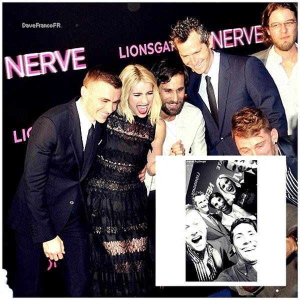 """12 juillet 2016 -  Avant-première du film """"Nerve"""" à New-York."""