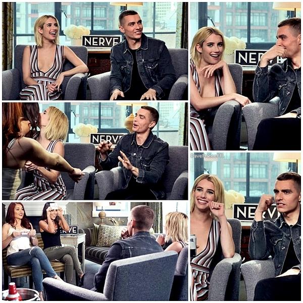 """12 juillet 2016 - Interview de Dave et Emma Robert pour le film """"Nerve""""."""