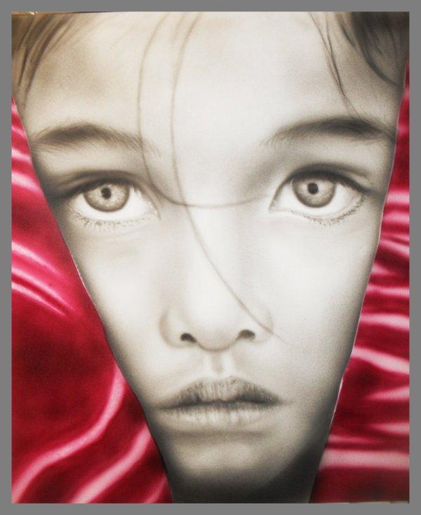 portrait noir et blanc avec une touche de couleur