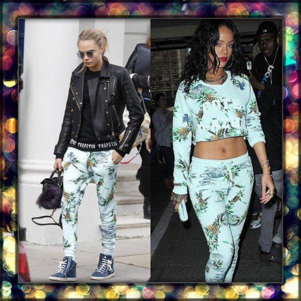 Qui porte le mieux le jogging imprimé tropical? Cara Delevingne ou Rihanna?