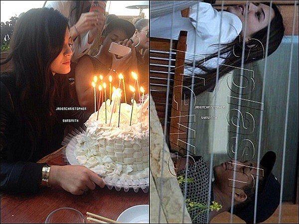 .  10/ 08/ 13 : Jaden Smith était présent pour le 16ème anniversaire de Kylie Jenner, d'autres teen stars étaient aussi présent surement comme Moises,Mateo, Jordyn, Kendall Jenner et bien d'autres. .