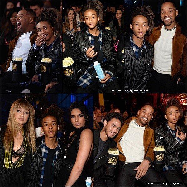 ||09.04.16 || Jaden Smith s'est rendu à la cérémonie des MTV movies awards 2016 en compagnie de son père Will Smith et de son demi frère Trey Smith. Il a également posé aux cotés de ses fidèles amis Kendall Jener et Gigi Hadid. Plus tard dans la soirée, Jaden s'est également rendu à l'after party à Burbank en Californie.