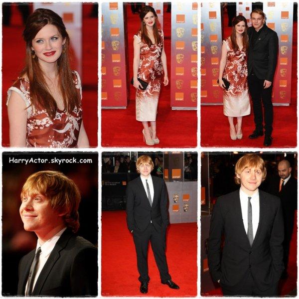 Emma Watson,Rupert Grint et Bonnie Francesca Wright étaient aux BAFTAs Awards le 13 février dernier,récompensant la saga Harry Potter.Personnellement je les trouves très élégant...Et vous?
