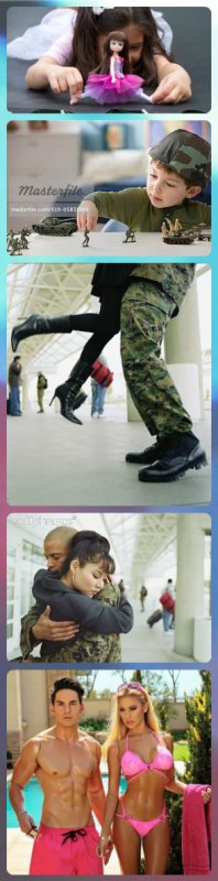 Les petites filles aiment les poupées et les petits garçons aiment les soldats, les grandes filles aiment les soldats et le grands garçons aiment les poupées.