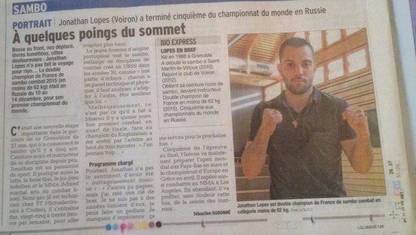 article du Dauphiné Libéré du 24/12/2015