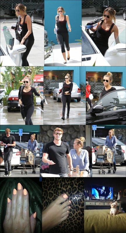 """. [13/04/2012] Miley a été aperçu hier sortant de son cours de Pilates dans West Hollywood .  [14/04/2012] Comme d'habitude, hier Miley a été vu sortant de son cours de Pilates, toujours aussi ravissante!. . Dans la même journée, elle a été aperçu faisant ses courses à Whole Foods avec Liam. .  .  [16/04/2012] Miley a posté 3 nouvelles photos sur son twitter en ajoutant: """"Faire mes 2 choses favorites, les ongles et regarder Prison Break"""" & """"Lila loves Wentworth too!""""."""