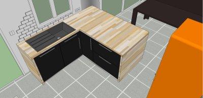 14/08/2011 MODIFICATION : Aménagement séjour + cuisine avec Google sketchUp 8