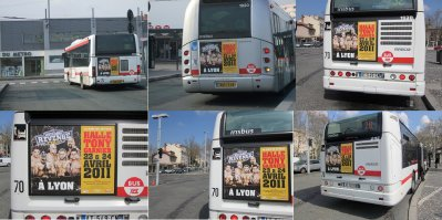 Des photos de la campagne d'affichage WWE sur les bus de Lyon