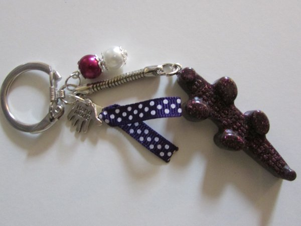 porte clef croco violet + paillettes