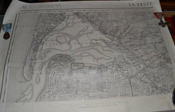 carte d'état major de 1928 du Bassin d'Arcachon ,La Teste de Buch