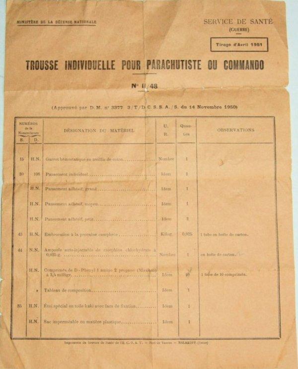 TROUSSE DE SECOURS PARA COMMANDO Modèle II/48 datée de 1953. GUERRE D´INDOCHINE (3eme partie)