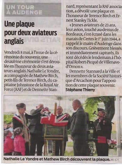 cérémonie du 8 mai 2015 à Audenge (sud ouest)