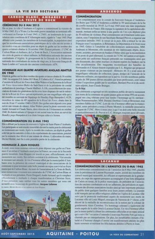 Voix du Combattant :cérémonie du 8 mai 2015 Ambares et lagrave