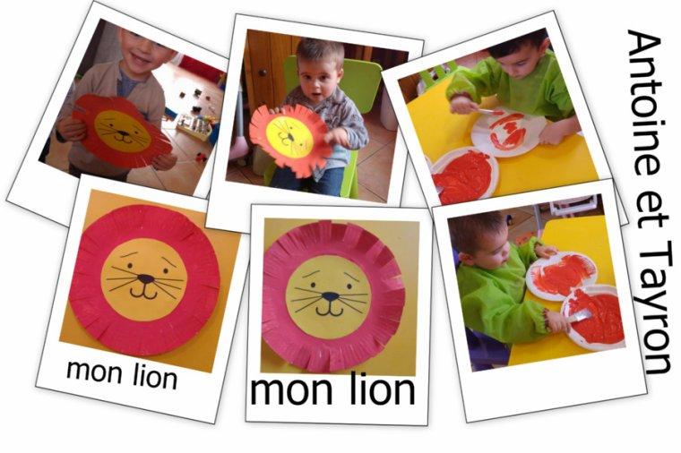 Le lion du cirque .. ( assiette en carton ) d'Antoine et Tayron