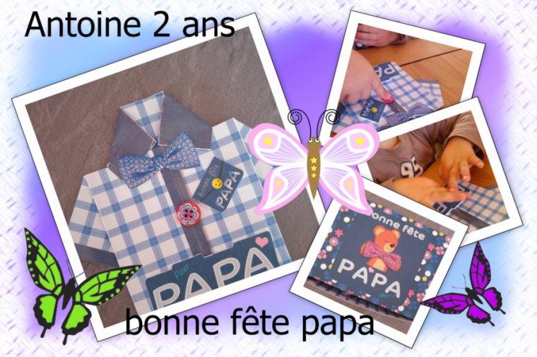 la chemisette d'Antoine 2 ans bonne fête papa