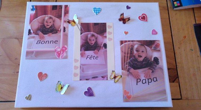 """tableau de Jade 16 mois """"bonne fête papa"""""""