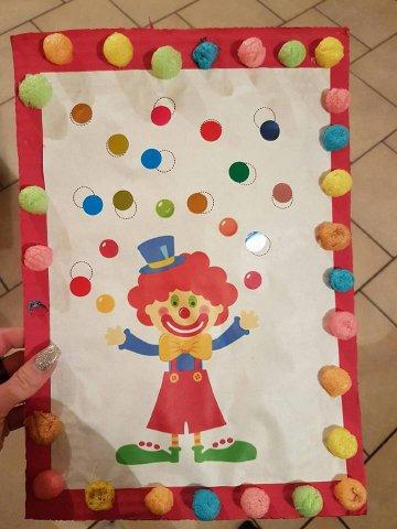 Tableau du clown jongleur cadre en playmais .. de Jade et Lana
