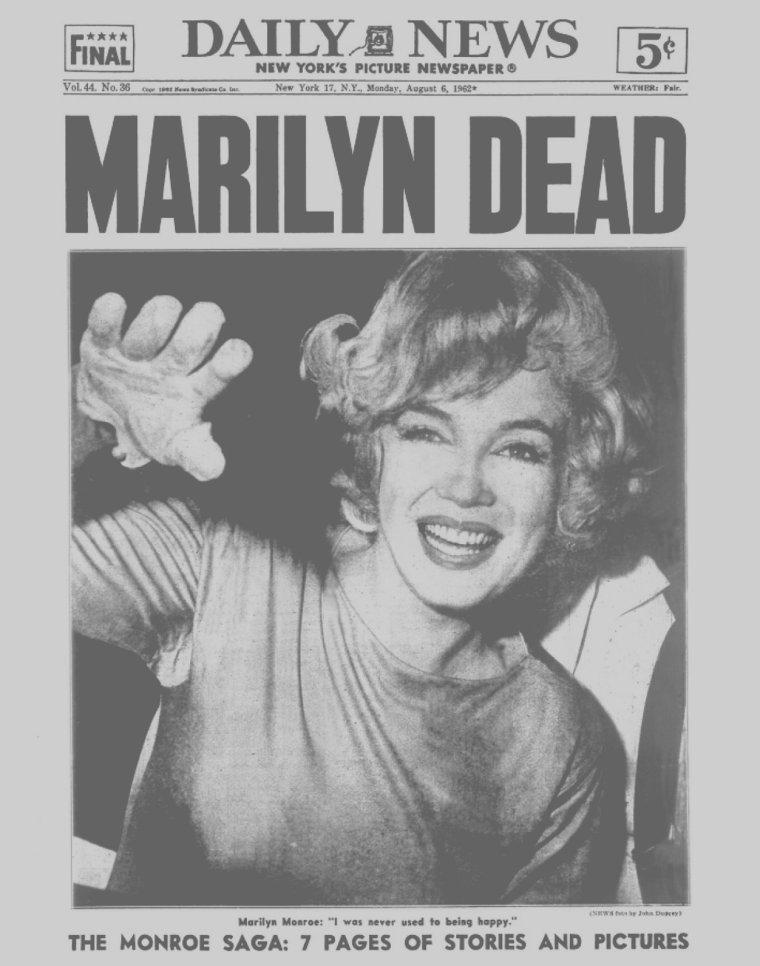 5 Août 1962 / DATE ANNIVERSAIRE / C'est le Dimanche 5 Août, à Los-Angeles, qu'on apprend la mort de Marilyn par voie de radio survenue dans la nuit du samedi au dimanche... Les journaux feront leur UNE le lundi 6 Août, il y a aujourd'hui 53 ans !