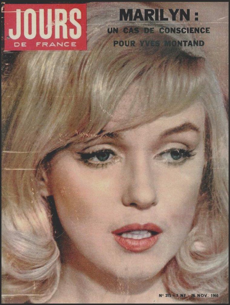 """1960 /  Rare cover française de Marilyn avec une photo candide prise lors du tournage du film """"The misfits""""."""