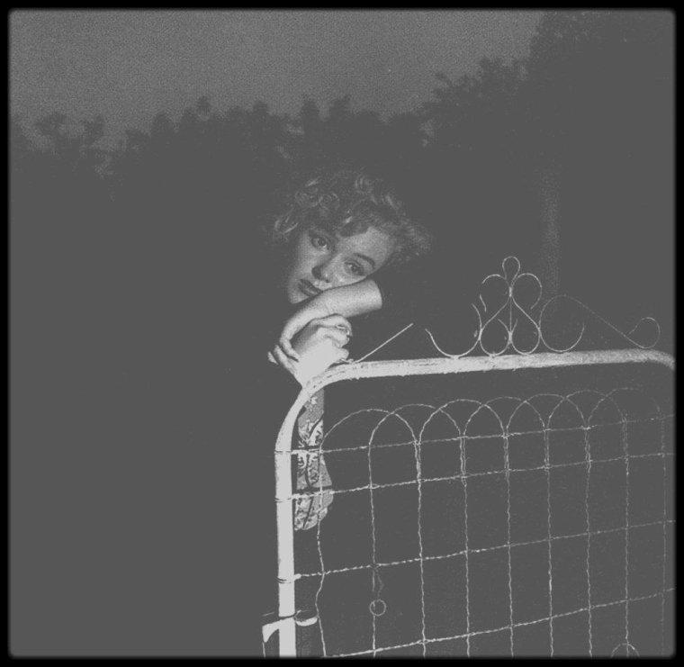1953 / André DE DIENES se souvient : Tard une nuit, Marilyn me téléphona pour me dire qu'elle n'arrivait pas à dormir. Elle me proposa d'aller faire des photos quelque part dans une ruelle mal éclairée de Beverly Hills. Elle voulait poser triste et esseulée. Je sortai hors de mon lit, rassemblai mon équipement et nous partîmes prendre des photos toute la nuit. Je n'avais pas de flash et j'éclairai avec mes phares de voiture. Les images qui en résultent sont très mélodramatiques. Jouait-elle la comédie, était-elle consciente que quelque chose n'allait pas dans sa vie ou sentait-elle que la tragédie l'attendait au tournant ?