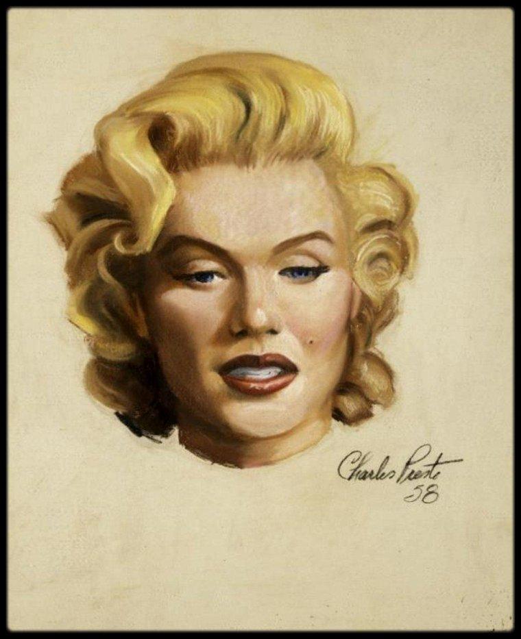 1958 / RARES portraits à l'huile de Marilyn fait de son vivant par le peintre Charles PRESTO.