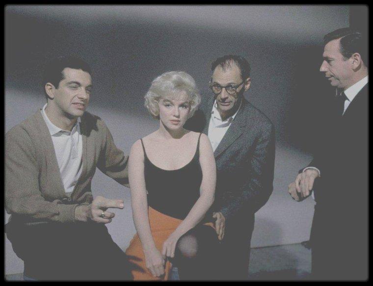 """1960 / Sur le tournage du film """"Let's make love"""", notamment avec MILLER, MONTAND, et Frankie VAUGHAN."""