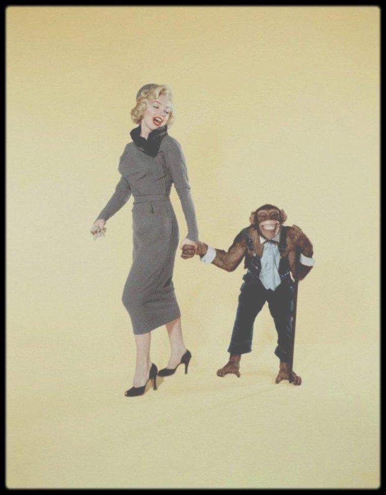 """1953 / Sur le tournage du film """"How to marry a millionaire""""."""