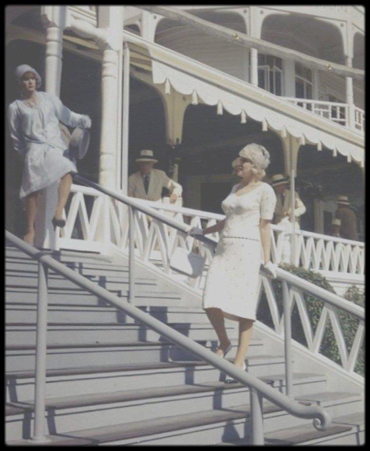 """1958 / Sur le tournage du film """"Some like it hot""""."""
