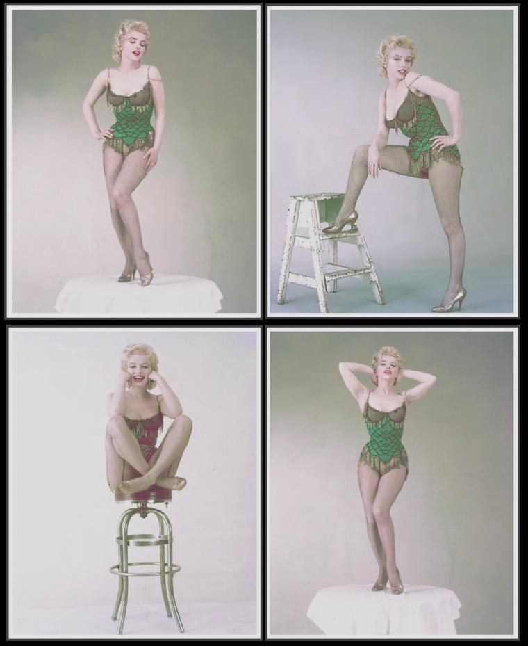 """1956 / Marilyn dans le costume qu'elle porte lors du numéro musical du film """"Bus stop"""" où elle chante la chanson """"That old black magic"""", photos de Milton GREENE."""