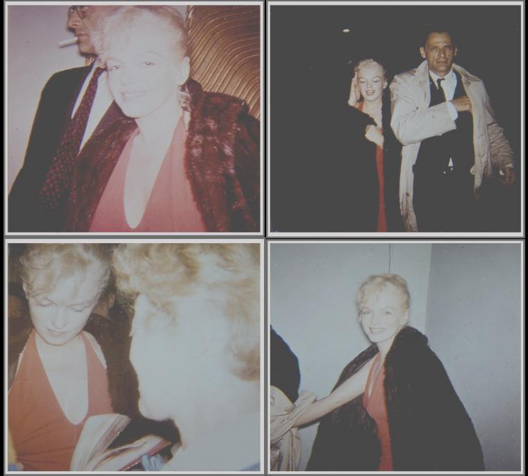 """1957 / Marilyn et MILLER se rendent dans un cinéma à New-York pour la sortie du film """"The Prince and the showgirl""""."""