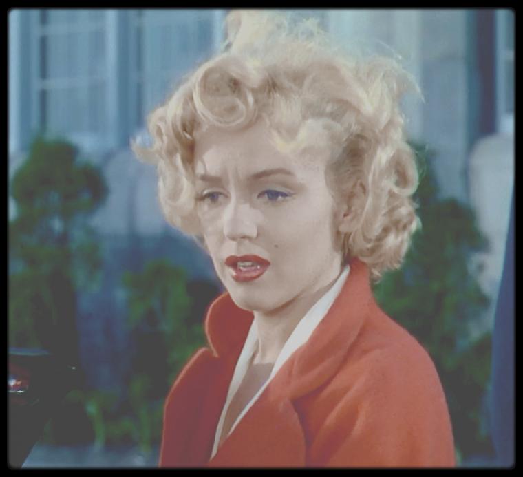 """1952 / Mes captures d'écran de Marilyn dans une des scènes du film """"Niagara""""."""
