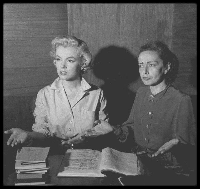 1952 / Marilyn l'élève assidue des cours d'art dramatiques de Natasha LYTESS.
