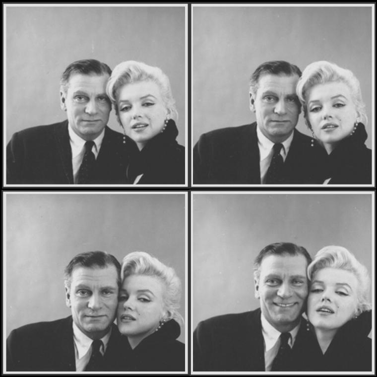 """1956 / Photoshoot de Marilyn aux côtés de Terence RATTIGAN (Scénariste de la pièce """"The sleeping Prince"""" ou """"The Prince and the showgirl"""" pour le film) et de Laurence OLIVIER, son partenaire masculin dans le film."""