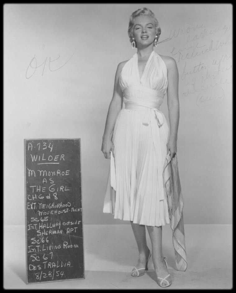 "1954 / NEWS / Costumes tests (by TRAVILLA) pour le film ""The seven year itch""."