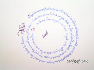 Résultat final : calligraphie circulaire