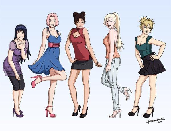 Hinata, Sakura, Tenten, Ino et Temari