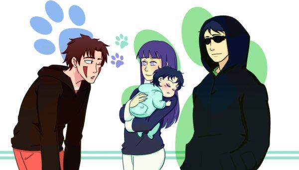 Kiba, Hinata et Shino.