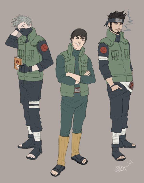 Kakashi, Gai et Asuma