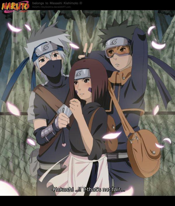 Kakashi, Rin et Tobi