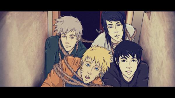 Kakashi, Naruto, Sai et Sasuke.