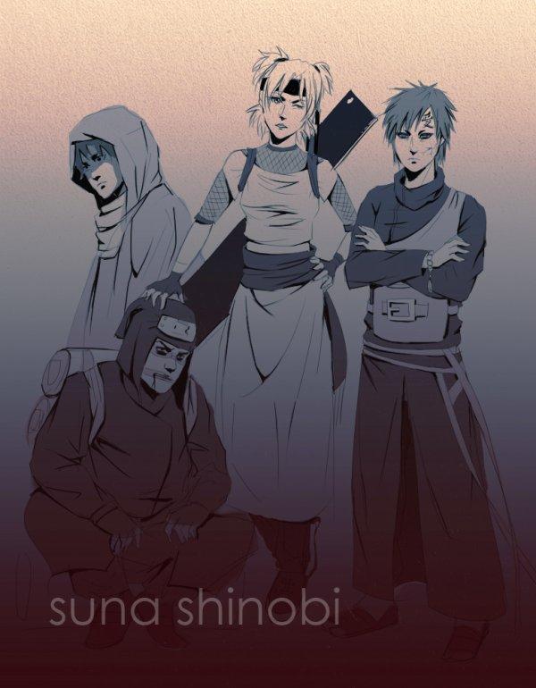 Sasori, Kankuro, Temari et Gaara.