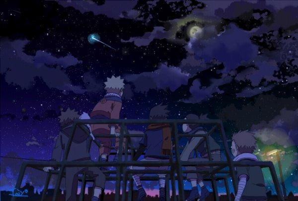 Kiba, Naruto, Sasuke, Shikamaru et Choji.
