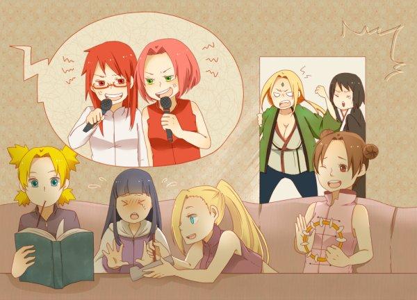 Temari, Hinata, Ino, Tenten, Karin, Sakura, Tsunade et Shizune.