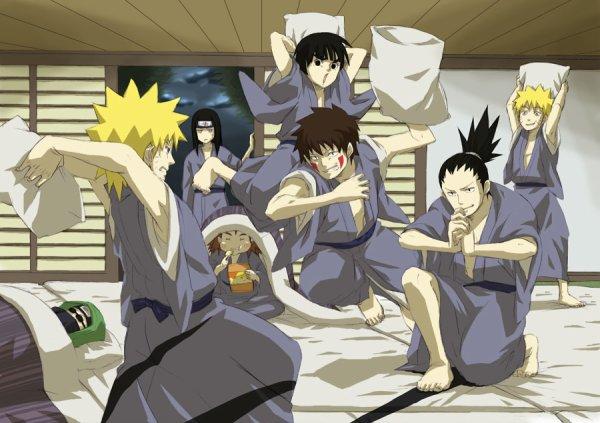 Naruto, Neji, Choji, Lee, Kiba, Shikamaru et Naruto'Clone