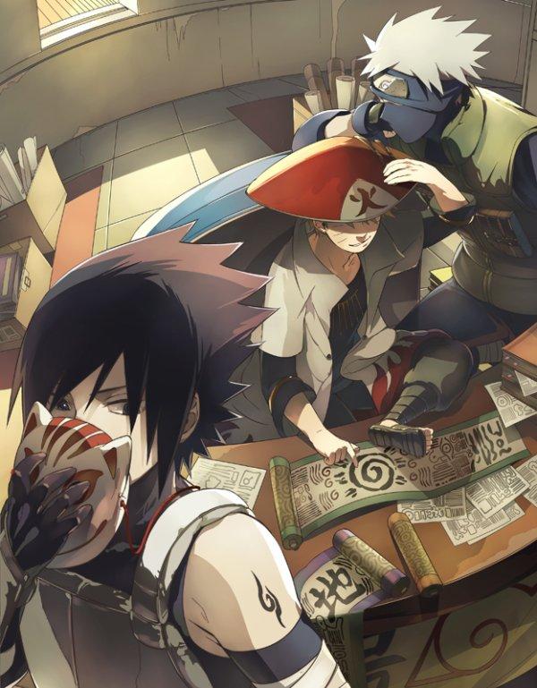 Sasuke, Naruto et Kakashi.