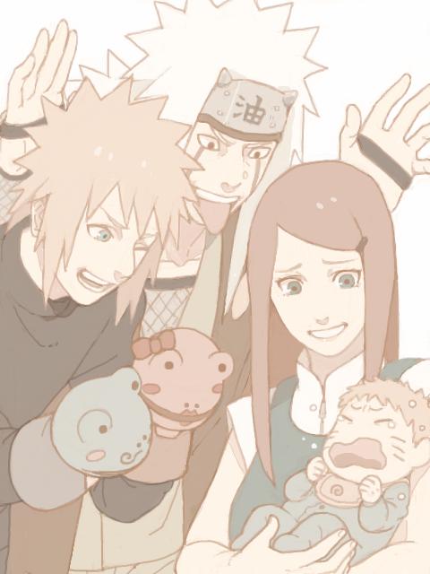 Minato, Jiraya, Kushina et Naruto.