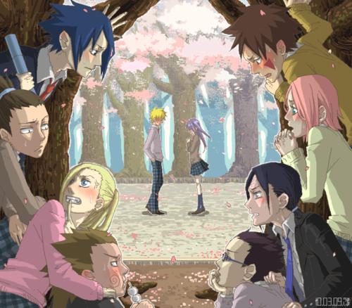 Sasuke, Shikamaru, Ino, Choji, Shino, Neji, Sakura, Kiba, Naruto et Hinata.