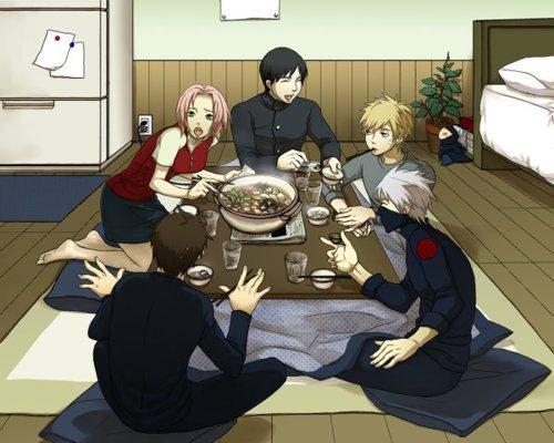Yamato, Sai, Sakura, Kakashi et Naruto.