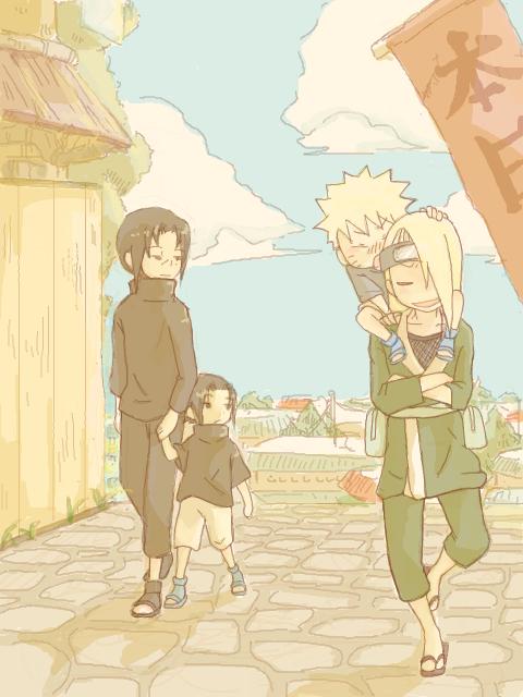 Itachi, Sasuke, Naruto et Deidara.